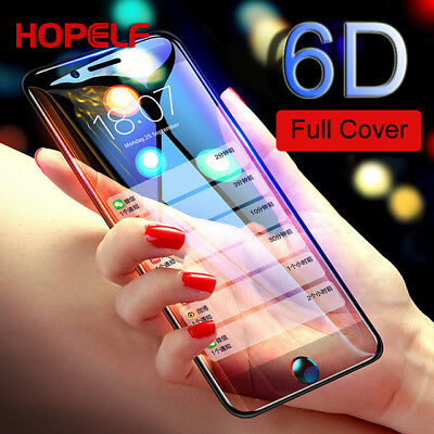 New iPhone X 8 7 6s Plus 6D Curved Full Coverage Tempered Glass Screen Protector