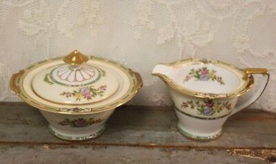 Antique C. 1931 Noritake China ALICIA #35762 Creamer And Sugar With Lid