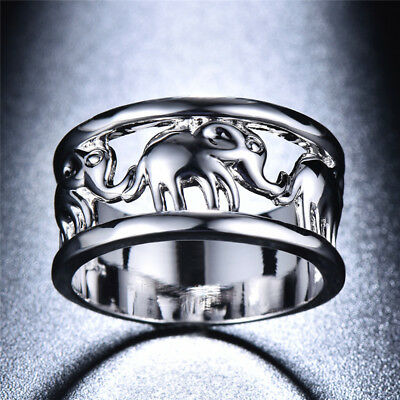 10KT White Gold Elephant Animal Signet Rings Womens Wedding Jewelry Gifts Sz6-11