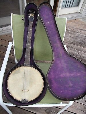 RARE ANTIQUE ORNATE STELLA BANJO w/WOODEN RESONATOR FLORAL DESIGN +CASE