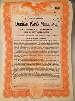 1925 Old Durham Paper Mills Gold BOND Certificate ALL COUPONS $500 Par