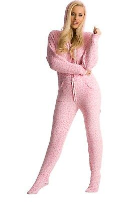Unisex Pink Cheetah Chenille Fleece Footed Pajamas - Adult Sized Pink Hooded PJ