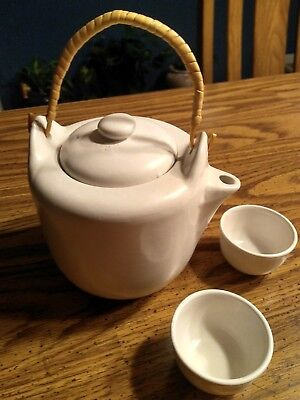 Clay Teapot from Japan w/ Cups. Bamboo Handle.