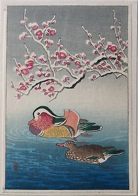 Ohara Shoson Title not known Ducks-snow   *Purchased in Japan 1947* Koban size