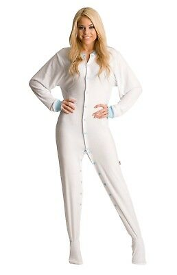 Unisex White Terry Cloth Footed Pajamas - Adult Sized Cotton Footie Hooded PJ
