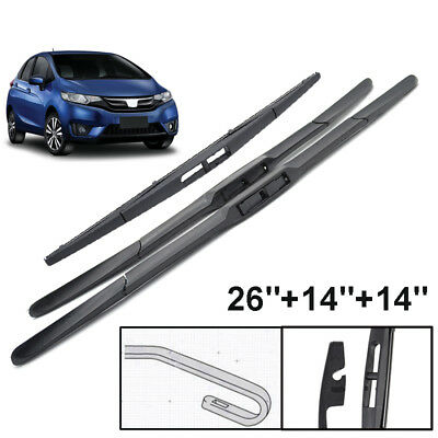 "Front Rear Windscreen Wiper Blades Kit Fit For Honda Jazz 2009-2017 26""14""14"""
