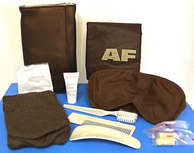 AIR FRANCE Airline Business Class Air travel flight Amenity Bag Beige Brown New
