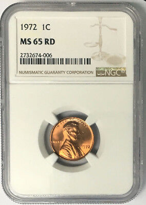 1972 1C RD Lincoln Cent NGC MS65RD