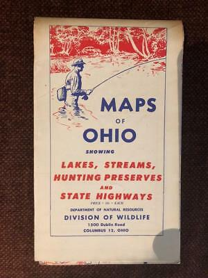 Vintage 1940  1950 (?) Maps of Ohio Lakes Streams Hunting State Highways