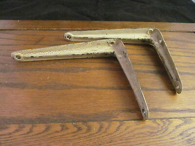 2 Shelf Brackets Vintage Rustic Rusty Shabby Old Aligated  Paint Pair 8 x 6