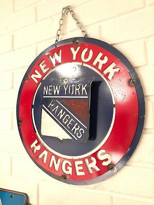 "New York Rangers Retro Distressed Metal 14"" Round Logo Sign - Vintage Looking"