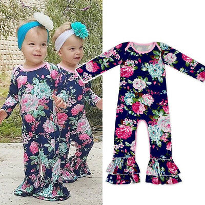 US Flower Newborn Baby Girl Ruffle Romper Bodysuit Jumpsuit Outfit Clothes 0-24M