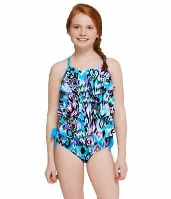 8939610709 NWT Justice Girls Size 7 Vibrant Print Tiered Tankini Swimsuit Fully Lined  NEW