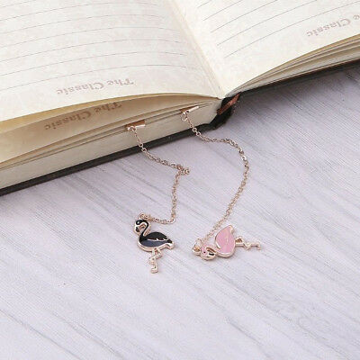 1Pc Cartoon Flamingo Bookmark Link Chain Pendant Stationery Reading Supplies