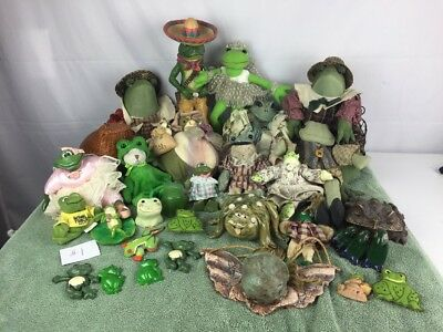 Frog Collection Lot of 32 Ceramic , Clay , Wood Stuffed Animal Frogs Etc.