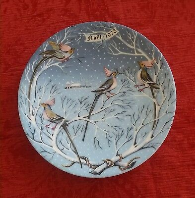 VTG Haviland France 12 Days of Christmas Plate #4 Four Coly Calling Birds w/Box