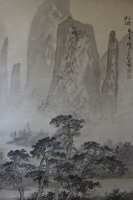 R07G8 ~Gorgeous Pine Tree Mountain River Scenery~ Chinese hanging scroll