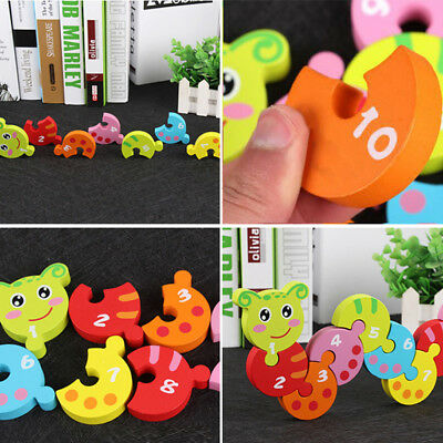 Kids Child Wooden Building Blocks Colorful Digital Caterpillar Toys Gifts Fun