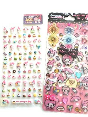 Kawaii Sanrio My Melody 3D Removable Stickers 2 Sheet Free Shipping from Japan