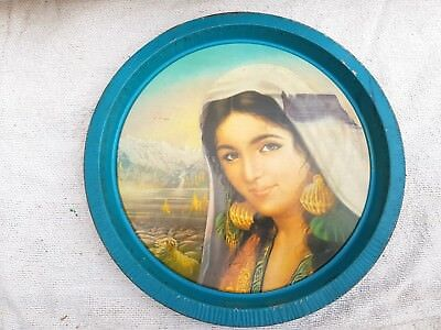 1950's VINTAGE BEAUTIFUL TRIBAL LADY SUBJECT DECORATIVE TIN ROUND TRAY/PLATE