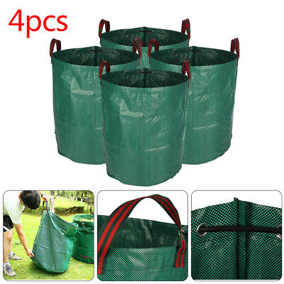 Heavy Duty Garden Waste Bags Reusable Rubbish Grass Refuge Sacks Green Set Of 4
