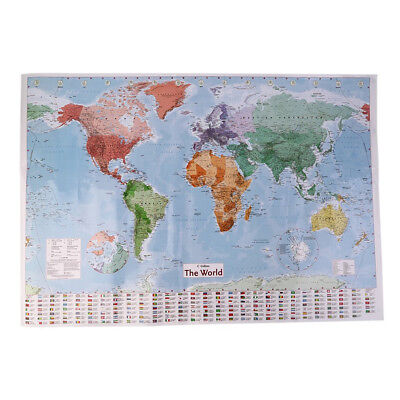 98X68Cm English Large Map Of The World Country Flags Office Wall Poster Smart