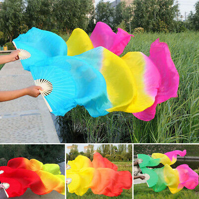 Hand Made Colorful Belly Dance Dancing Silk Bamboo Long Fans Veils 10 Colors