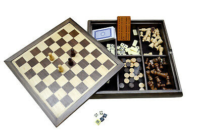 7in1 Elegance Wooden Chess And Checker Board Set Backgammon Dominoes Game01 1.5k