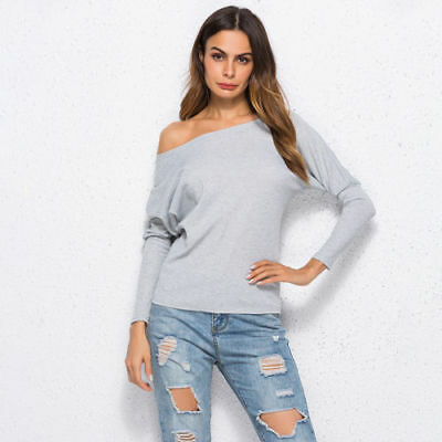 Women Sexy Long Sleeve One Shoulder Shirt Blouse Loose Cotton Tops T-Shirt LV