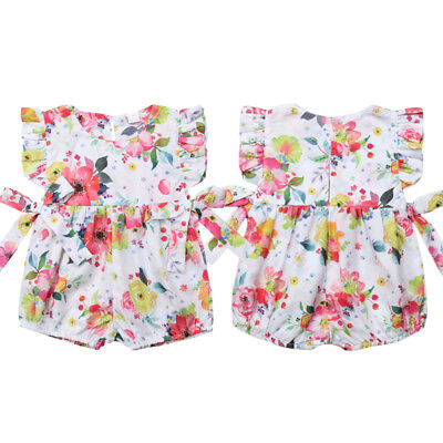 Newborn Baby Girl Summer Flower Ruffle Romper Bodysuit Jumpsuit Outfits Clothes