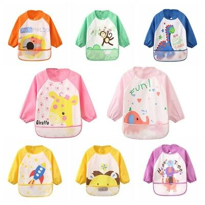 Baby Kids Long Sleeve Bibs Apron Waterproof Art Smock Feeding Toddler Child US