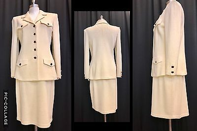 ST JOHN by Marie Gray Set Yellow Knit Skirt & Blazer Suit Sz 8 - Made in The USA