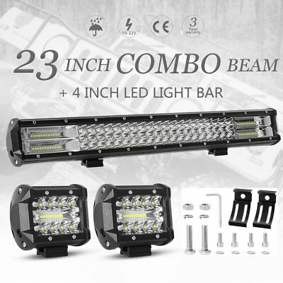 23inch CREE LED Combo Work Light Bar + 4'' Spot Flood Offroad Driving 4WD Truck