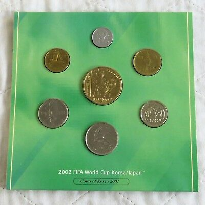 KOREA 2001 7 COIN UNCIRCULATED SET FOR THE 2002 FIFA WORLD CUP -sealed pack
