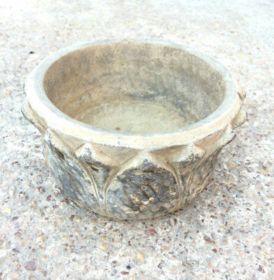1850's ANTIQUE BEAUTIFUL HAND CARVED STONE BOWL WITH BEAUTIFUL CARVING