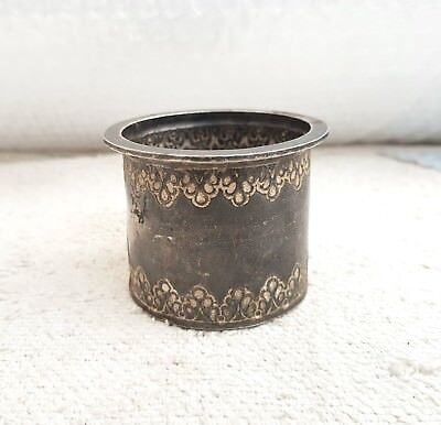 1800's ANTIQUE RARE HANDMADE & CARVED 95.09 Grams ORIGINAL SILVER HOLY WATER POT
