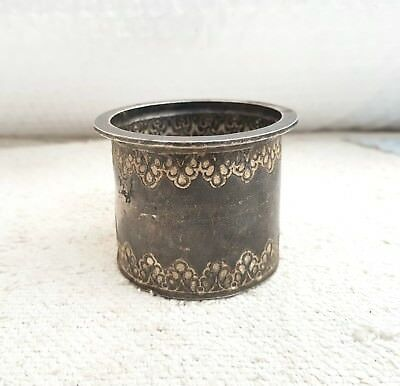Original Old Handmade & Carved 95.09 Grams Silver Holy Water Pot Rich Patina