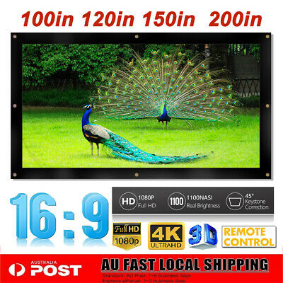 "100/120/150/200"" Projector Screen 16:9 Home Cinema In/Outdoor Movie Projection"