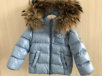 Baby boys MONCLER K2 Baby Blue Puffer Coat With Racoon Fur Hood Size 12-18