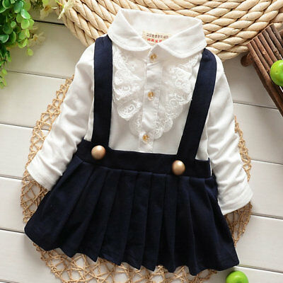 2pcs Kids Baby Girl Long Sleeve Pleated Suspender Skirt Party Casual Dress 1-5Y