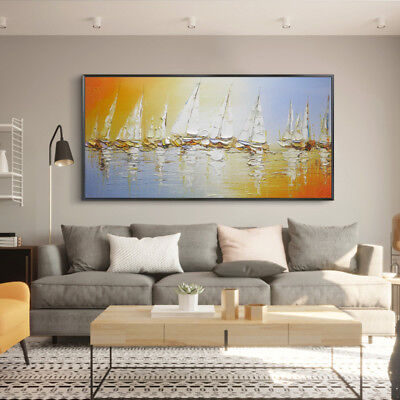 VV747 Large Modern Simple abstract oil painting Pure Hand-painted Sailboat