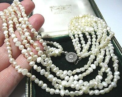 "Beautiful Vintage Jewellery Real Natural Baroque Pearl Bead 5 Row 17.5"" NECKLACE"