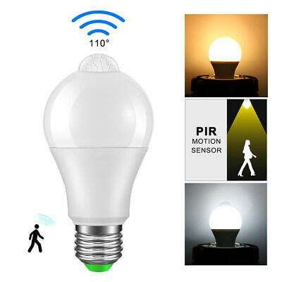 E27 10W Led PIR Motion Sensor Light Bulb Warm/Cool White Lamp Indoor 120V 220V