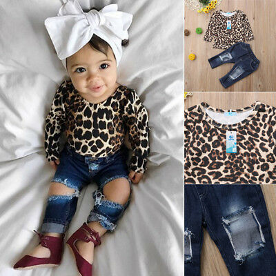 Fashion 2pcs Kids Baby Girls Outfits Leopard Tops+Destroyed Jeans Pants Clothes