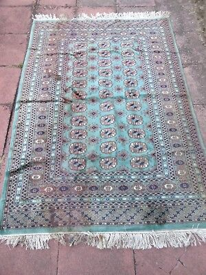"Vintage Bokhara Persian Wool Rug Green/Dark Blue 6ft 7.5"" x 4ft 3"" (222x 130cm)"