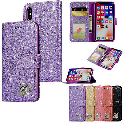 Bling Diamond Glitter Leather Card Wallet Case Stand Filp Cover For Lot Phones