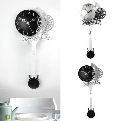 Modern Battery Operated Antique Silent Gear Wall Clock Collectable Gifts