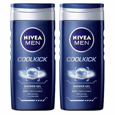 Nivea Bath Care Shower Gel Cool Kick for Men, 250 ml (pack of 2), free shipping