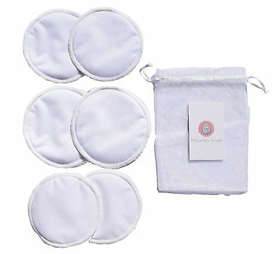 6 White Organic Bamboo Reusable Breast Pads Nursing Waterproof Washable Pads