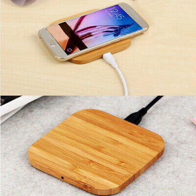 Qi Wireless Charger Charging Slim Wood Pad Mat Cell For Apple iPhone 8 8 Plus X